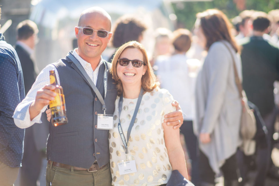 Tristan Rhodes and Rachel Bell enjoying the sunshine at the Stride Treglown Staff Conference
